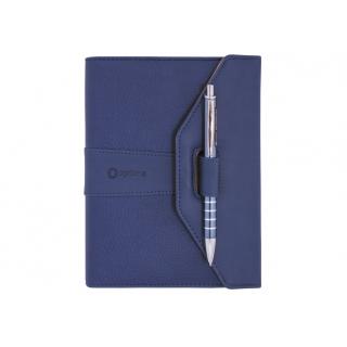 Бизнес-организатор с ручкой, 135*185 мм, на кольцах, синий, с ручкой, бумага 80 г/м2, кремовый
