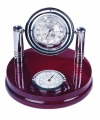 Подставка настольная деревяная с часами и термометром
